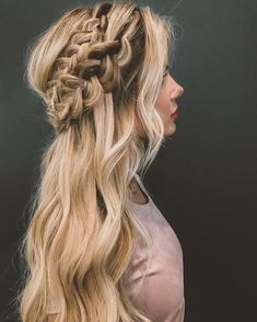 beauty • braided half updo with long wavy curls