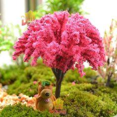 Deep Pink Flower Tree Miniature Fairy Garden Terrarium Dollhouse Layout Model