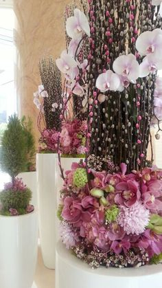 Chinese New Year floral with cat-tail willow Chinese New Year Decorations, New Years Decorations, Flower Decorations, Chinese New Year Flower, Flower Structure, Hotel Flowers, Large Flower Arrangements, Flower Boxes, Event Decor