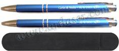 Bolígrafo de metal personalizado con funda de antelina.