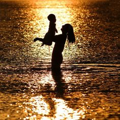 "ღღღ Mother and Child. This picture reminds me of when I took my son to the ocean the first time. After the first waves touched his little feet, he asked me, ""Momma how did you make the earth move?"""