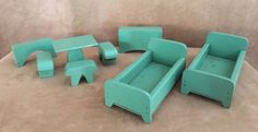 Vintage Dollhouse furniture Creative Playthings wood bedroom bed table doll #Unbranded
