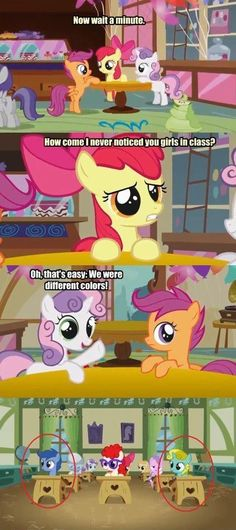 """Hm....wonder if they were trying to get their cutie marks in """"Mane dyeing"""" before Applebloom."""