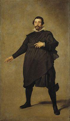 El Bufon Pablo de Valladolid - Diego Velazquez.  1636-37.  Oil on canvas.  214 x 125 cm.  Museo del Prado, Madrid, Spain.