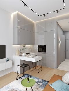 A kitchenette can be designer! - DECO PLANET at homes world - Trend Home Design 2019 Small Apartment Interior, Condo Interior, Small Apartment Decorating, Apartment Kitchen, Kitchen Interior, Modern Apartment Design, Cozy Apartment, Apartment Ideas, Küchen Design