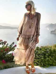 boho Dress - € - Solid Wrap Long Sleeve Maxi A-line Dress Long Sleeve Midi Dress, Maxi Dress With Sleeves, Half Sleeves, Sleeved Dress, Casual Dresses For Women, Clothes For Women, Robes Midi, Outfit Trends, Spring Dresses