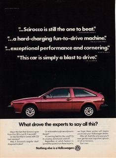 Scirocco Volkswagen, Volkswagen Golf Mk1, Vintage Advertisements, Vintage Ads, Santana Quantum, Vw Corrado, Vw Gol, Car Advertising, Popular Mechanics