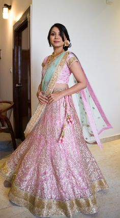 light pink and mint lehenga with net , gold border, threadwork, pastel, light lehenga for engagement or reception , morning wedding, fresh, girly, vintage