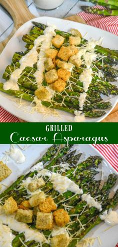 On top of being the best, easiest grilled asparagus ever- this healthy Grilled Caesar Asparagus version is taken to new heights when served drizzled with creamy Caesar dressing and sprinkled with shredded Parmesan cheese. #grilled #grilling #caesar #asparagus #healthy #vegetarian #sidedish #BBQWeek #ad