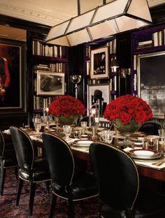 Berling Billiard Light Fixture, Duke Pedestal Dining Table and Duke Dining Chairs, Duke china. All, Ralph Lauren Home collection. Fantastic!