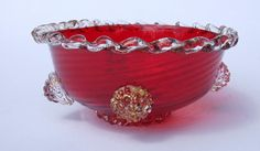 1930's Murano Ruby Red Art Glass Bowl  by HazeArtandAntiques