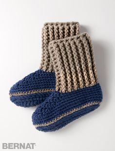 Yarnspirations.com - Bernat Slipper Socks - Patterns   Yarnspirations   crochet   free pattern