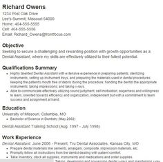 resume for a dental assistant