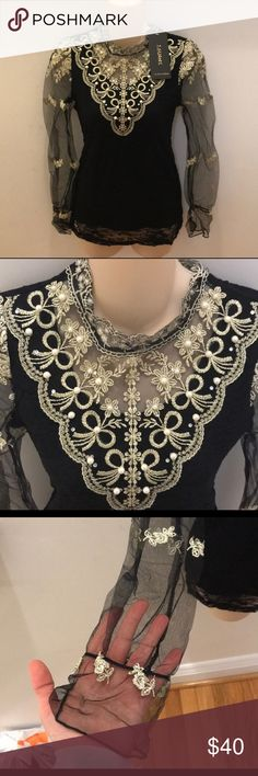 J. Guanl Victorian Designer Lace Pearl Top NWT High neck top with a lace overlay, lacy sleeves. Intricate gold stitching and pearl bead across the bodies. Under top is soft and stretchy. Very feminine Victorian look. Size large but runs small. Size 6 or medium. J. Guanl Tops Blouses