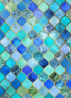 'Cobalt Blue, Aqua & Gold Decorative Moroccan Tile Patterns' poster by micklyn I wanted to do a work reminiscent of a mosaic of colorful, very detailed, and structured ceramic tiles. Moroccan Tiles, Moroccan Decor, Moroccan Pattern, Moroccan Bathroom, Moroccan Interiors, Tile Patterns, Pattern Art, Geometric Patterns, Pattern Design