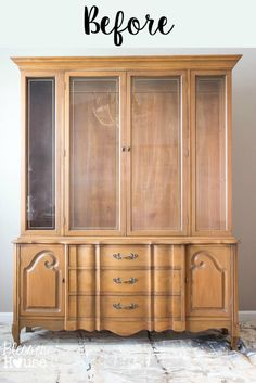 French Provinical China Cabinet Makeover by Blesser House China Cabinet Bar, White China Cabinets, Vintage China Cabinets, Painted China Cabinets, Rustic China Cabinet, Modern China Cabinet, China Buffet, Buffet Cabinet, Cabinet Ideas