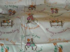 HOLLY HOBBIE Fabric Vintage J Manes 45 x 36  1 Yard Vintage Friends Sayings