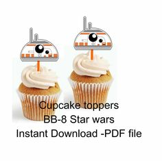 BB-8 star wars toppers - 2.5 inches - BB8 cupcake toppers - Star Wars toppers - Star Wars party - Star Wars The Force Awakens cake toppers by OKPRINTABLESSHOP on Etsy
