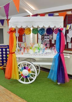Rainbow theme candy cart