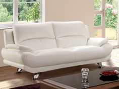Canapé 3 places en simili MUSKO - Blanc