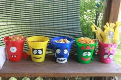 Yo Gabba Gabba Birthday Party Pails  I would make these! Use the s craft sticky foam sheets to make the faces