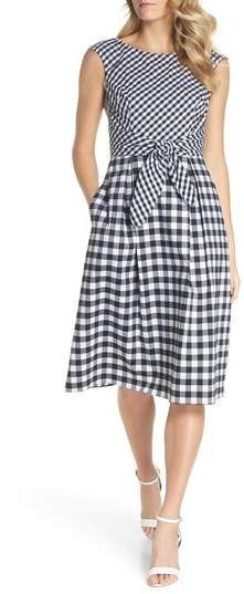 Adrianna Papell Gingham Tie Front Midi Dress. #ad # spring 2018
