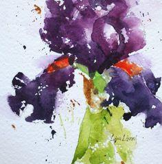 Purple, bearded iris, flowers, watercolor, painting, fine art, garden, Lisa Livoni, Napa Valley artist, colorist