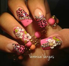 Blinged out pink nails