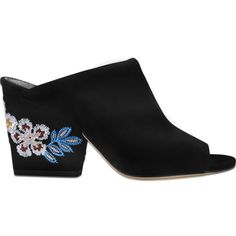 Tory Burch Embroidered 95 floral wedge (£335) ❤ liked on Polyvore featuring shoes, sandals, black, black wedge shoes, tory burch sandals, black floral shoes, floral print sandals and wedge shoes