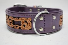 Genuine Leather Purple Western Dog Collar 26 x 2 por TaffyLeathers, $90.00