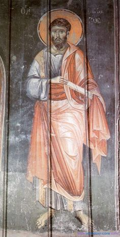Holy Apostle James (Iakovos), the son of Alphaeus and the brother of Apostle and Evangelist Matthew. - The frescoes of the cathedral Protata in Kars, Athos. Religious Images, Religious Icons, Religious Art, Byzantine Icons, Byzantine Art, Fresco, Religious Paintings, Best Icons, High Art