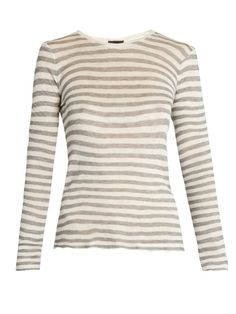 GABRIELLE'S AMAZING FANTASY CLOSET | ATM's oatmeal-beige and stone-grey striped T-shirt is an easy wardrobe cornerstone. It's knitted in 100% Modal for a feather-light feel | You can see the rest of the Outfit and my Remarks on this board. - Gabrielle