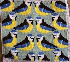 Modern Tapestry: Unique Handmade  Blue Tits  Sampler