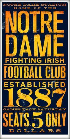 Notre Dame fighting irish football typography graphic art archival giclee  print 10 x 20 bf8c12d3e