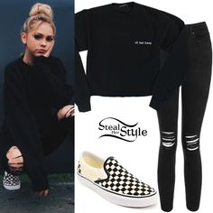 Jordyn Jones posted a picture on instagram a couple of days ago wearing a Brandy Melville Uh Huh Honey Sweatshirt (Sold Out), Topshop Moto Black Ripped Jamie Jeans  ($75.00) with Vans Checkerboard Slip-On ($49.95).