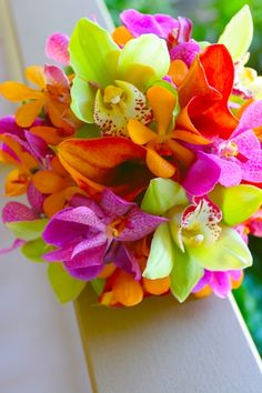 Bright Tropical Wedding Flowers - Maui Flowers - Maui Brides Bouquets | Blue Sky Weddings