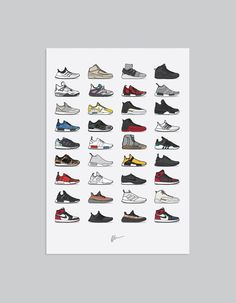 A selection of the biggest sneaker drops from 2016. The ideal for the home or office, ideal for sneakerheads. Details • Unframed • Sizes: A2 •...