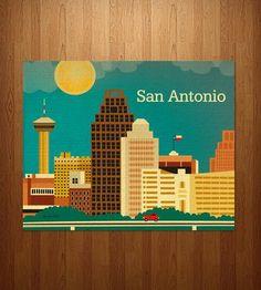 San Antonio Skyline Art Print by Loose Petals on Scoutmob Shoppe