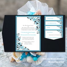Malibu Blue U0026 Black, Printable Wedding Invitations, DIY Pocketfold Set, You  Edit U0026