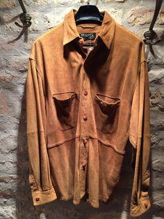 1970-80' suede leather men shirt. Size L. by nicevintageshop