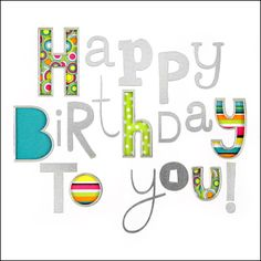 Birthday Card - 'Happy Birthday To You' in Silver Letters - Brightly Coloured Internal design