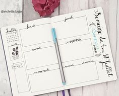 Le Bullet Journal: Ressources & Inspirations July Week Design More. Organization Bullet Journal, Bullet Journal Hacks, Bullet Journal Spread, Bullet Journal Layout, My Journal, Filofax, Journal Inspiration, Bujo Planner, Weekly Log