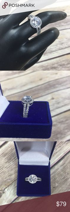 Valentines Sale ✨ 925 Sterling Silver Halo 3 CT CZ 925 Sterling Silver Halo accents engagement Wedding Ring 3 Ct Cubic Zirconia  -sterling silver band -halo cut with accents -includes 1 ring, 1 box Jewelry Rings
