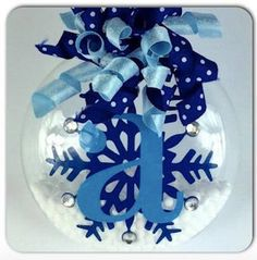 Personalized Frozen Initial Snowflake Christmas Ornament by SparklesandSpice11 on Etsy