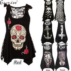 eac0e59ebd9 Womens Lady Digital Print Vest Sleeveless Gothic T Shirt Casual Blouse Tank  Tops