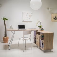 Create an inspired space to work on projects or homework with this retro-inspired wood computer desk. An attached storage cabinet includes three drawers and four storage cubicles, giving you plenty of