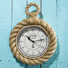 Know Your Ropes™ Wall Clock Two S Company Wall Mounted Clock Clocks Home Decor Nautical Clocks, Nautical Rope, Nautical Nursery, Nautical Theme, Beach House Swimwear, Nantucket Cottage, Seaside Decor, Nursery Inspiration, Beach Cottages