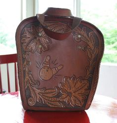 hand tooled bowling ball bag at cinemaknits   #tooled #bowling #bag