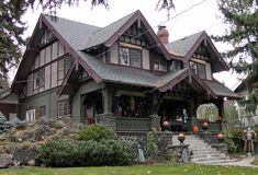 The Larsen-Lindholm home Craftsman Exterior, Craftsman Bungalows, Craftsman House Plans, Craftsman Style, Tudor House, Paint Colors For Home, House Colors, Dream Home Design, House Design