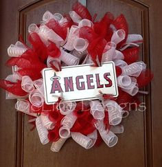 Los Angeles Angels of Anaheim deco mesh wreath by DeLinedesigns, $60.00
